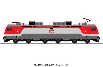 Electrical Locomotive. Railway train. vector