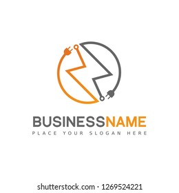 Electrical logo template. Vector design with battery or electricity icon. This logo is suitable for building, power, plug, flash, energy, thunder and technology.