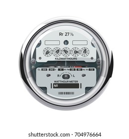 Electrical meter isolated on white. Electricity consumption. Electrical control panel and equipment. Realistic high quality vector.