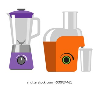 Electrical mixer dishware isolated vector illustration kitchenware appliance and juicer maker symbol electric tool domestic cooking household technology.