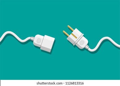 Electrical outlet and plug unplugged. 404 error, page not found, connection error or time out. Vector illustration in flat design.