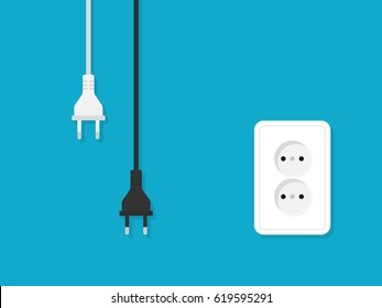 Electrical outlet and plugs illustration in flat style. Vector