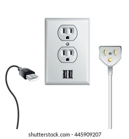 Electrical outlet in the USA, power socket with USB
