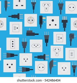 Electrical outlets plugs seamless pattern