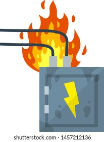 Electrical panel. Broken switchboard. Danger sign. The wire under tension. Short circuit, red flame and fire. High voltage. overload of the system. Cartoon flat illustration. Damaged equipment