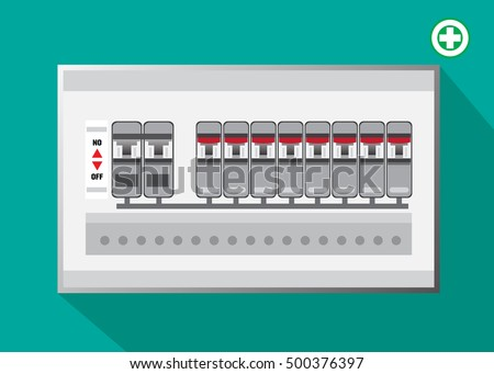 electrical panel switch on off breakers vector stock vector (royaltyelectrical panel, switch on off,breakers vector flat, circuit breakers