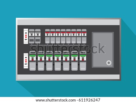 Electrical Panel Switch On Off Breakers Vector Stock-Vektorgrafik ...