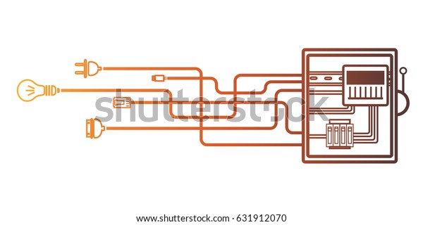 electrical panel, switch with wires, electric meter in box on white  background