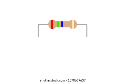 Electrical parts vector resistor isolated with resistor color code and resistors connection. Resistor is one of electrical parts vector beside the other electrical parts vector.