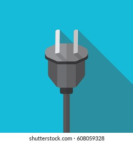 Electrical plug flat icon with shadow isolated on blue background. Electrical plug vector illustration in Flat style for graphic and web design, Modern simple vector sign.