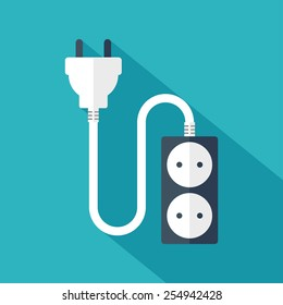 Electrical plug and socket. Flat design. Vector illustration