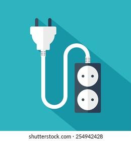 Electrical plug and socket. Flat design. Vector illustration