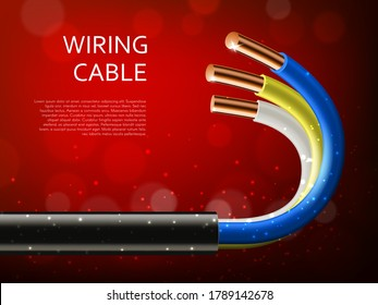 Electrical power cable with copper wires realistic vector of electrician wiring. Main cable in plastic jacket with curved colorful conductors 3d banner, decorated with sparkles and bokeh lights