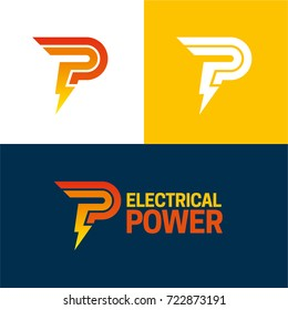 Electrical Power - Vector Illustration - An icon and logo featuring a P symbol and letter which is also forming a thunderbolt.