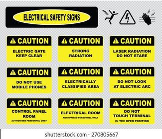 electrical safety signs, various caution signs (electric gate, strong radiation, laser, electric classified area, do not look at electric arc, control panel room, do not touch terminal)
