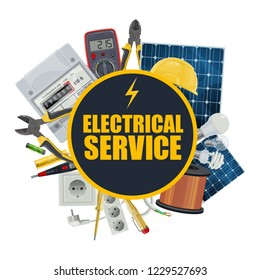 Electrical service, electrician repair tools and engineer equipment. Vector solar panel battery, electric counter and light bulbs, hard hat and tester, light switcher in socket and voltmeter