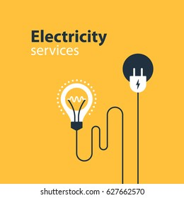 Electrical services and supply icons, energy saving concept, electricity connection graphic elements. lignt bulb and plug fork. Flat design vector illustration