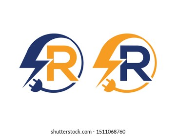 Electrical sign with the letter R,  Electricity Logo, electric logo and icon Vector design Template.Lightning Icon in Vector. Lightning Logo, Power Energy Logo Design Element,
