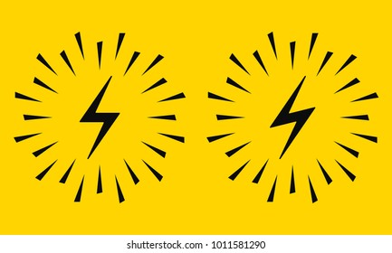 Electrical Sign with Sparks. Vector Icon of Electric Energy Symbol Surrounded by Sparks in Black on Yellow Background. Electric Flash in Two Graphic Variation