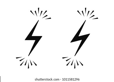 Electrical Sign with Sparks. Vector Illustration of Electric Energy Icon in Black on Yellow Background. Electric Flash in Two Graphic Variation