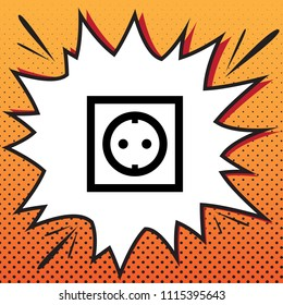 Electrical socket sign. Vector. Comics style icon on pop-art background.