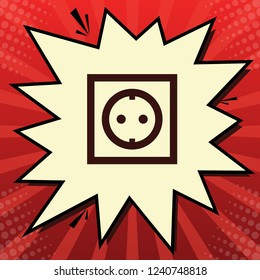 Electrical socket sign. Vector. Dark red icon in lemon chiffon shutter bubble at red popart background with rays.