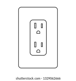 Electrical socket Type B. Power plug and Canada flag vector illustration.