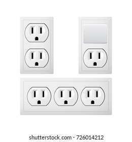 Electrical socket Type B with switch. Power plug vector illustration. Realistic receptacle from Canada and Mexico. The lights push on and off. Set of obgect.