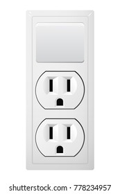 Electrical socket Type B with switch. Power plug vector illustration. Realistic receptacle from USA. The lights control on and off.