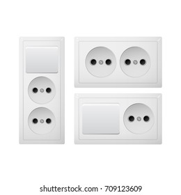 Electrical socket Type C with switch. Power plug vector illustration. Realistic receptacle from South America. The lights control on and off. Groupp of obgect.