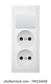 Electrical socket Type C with switch. Power plug vector illustration. Realistic receptacle from Asia. The lights push on and off.