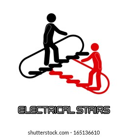electrical stars with people over white background