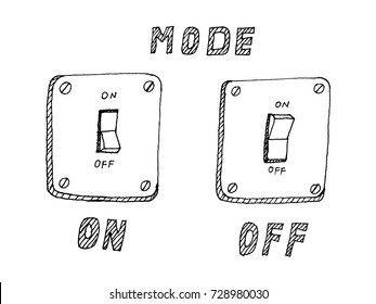 electrical switch mode ON and OFF illustration sketch hand drawn