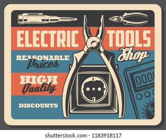 Electrical tools vintage poster, electricity power and energy store signboard. Vector retro design of electric plug and socket, voltmeter tester and wire cutters or ammeter