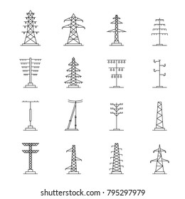 Electrical tower high voltage watts icons set. Outline illustration of 25 electrical tower high voltage watts vector icons for web