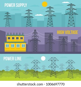 Electrical tower voltage banner horizontal concept set. Flat illustration of 3 electrical tower voltage vector banner horizontal concepts for web