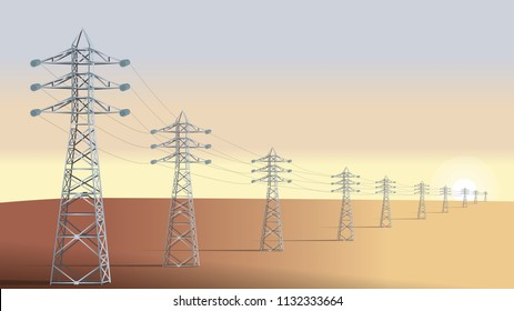 Electrical towers. High voltage power lines in the desert during the sunset. Flat design. Vector illustration.