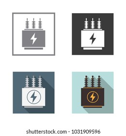 Electrical transformer icons set. Vector illustration.