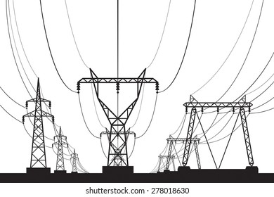Electrical transmission towers in perspective - vector illustration