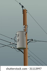 Electrical or utility pole with transformer, wires and insulators. Dark clouded stormy sky threatens to knock out power.