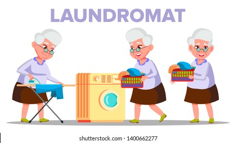 Electrical Washing Laundromat Appliance Vector. Character Old Woman Grandmother Dry In Laundromat And Stroking On Ironing Board Clothes. Housework Colorful Flat Cartoon Illustration
