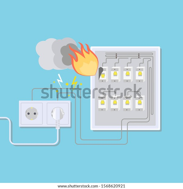 Electrical Wiring Fire Electrical Outlet Switchboard Stock Vector Royalty Free 1568620921