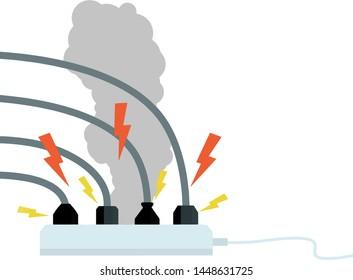 Electrical wiring. Socket with sparks and lightning. Smoke from the device. Compliance with fire safety. Set Of Cables.