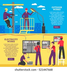 Electrical works horizontal banners with people working on power line support and pole flat vector illustration