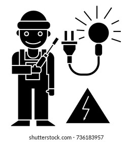 electrican icon, vector illustration, black sign on isolated background