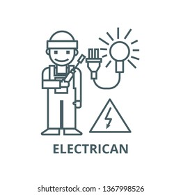 Electrican line icon, vector. Electrican outline sign, concept symbol, flat illustration