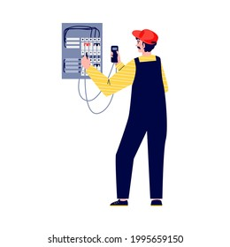 Electrician checks electrical equipment to fix breakdown, flat vector illustration isolated on white background. Electric company personnel repair electrical networks.