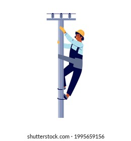 Electrician climbing a pole to fix an electrical breakdown, flat vector illustration isolated on white background. Electrical company staff repair electrical grids.