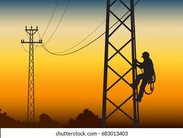 Electrician climbing the tower, against the sunset Flat style vector illustration clipart.