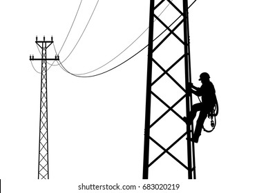 Electrician climbing the tower, against the sunset. Black and white drawing. Flat style vector illustration clipart.